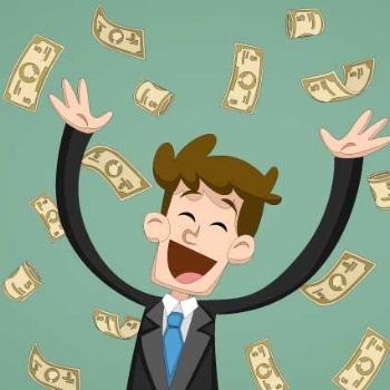 Cash Surrounding a Blue Eagle Credit Union Member
