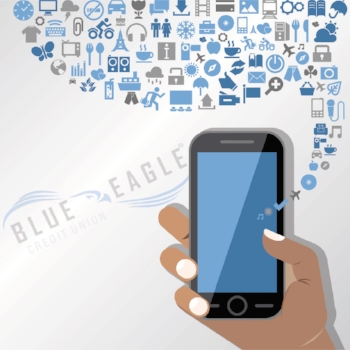 Blue Eagle Credit Union services flow from the screen of a phone