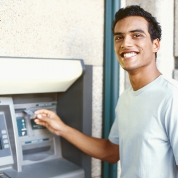 Man Using Surcharge-Free ATM