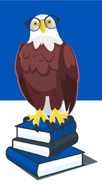 Eagle Standing on Pile of Textbooks