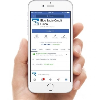 Blue Eagle Credit Union Facebook Page Displayed on iPhone