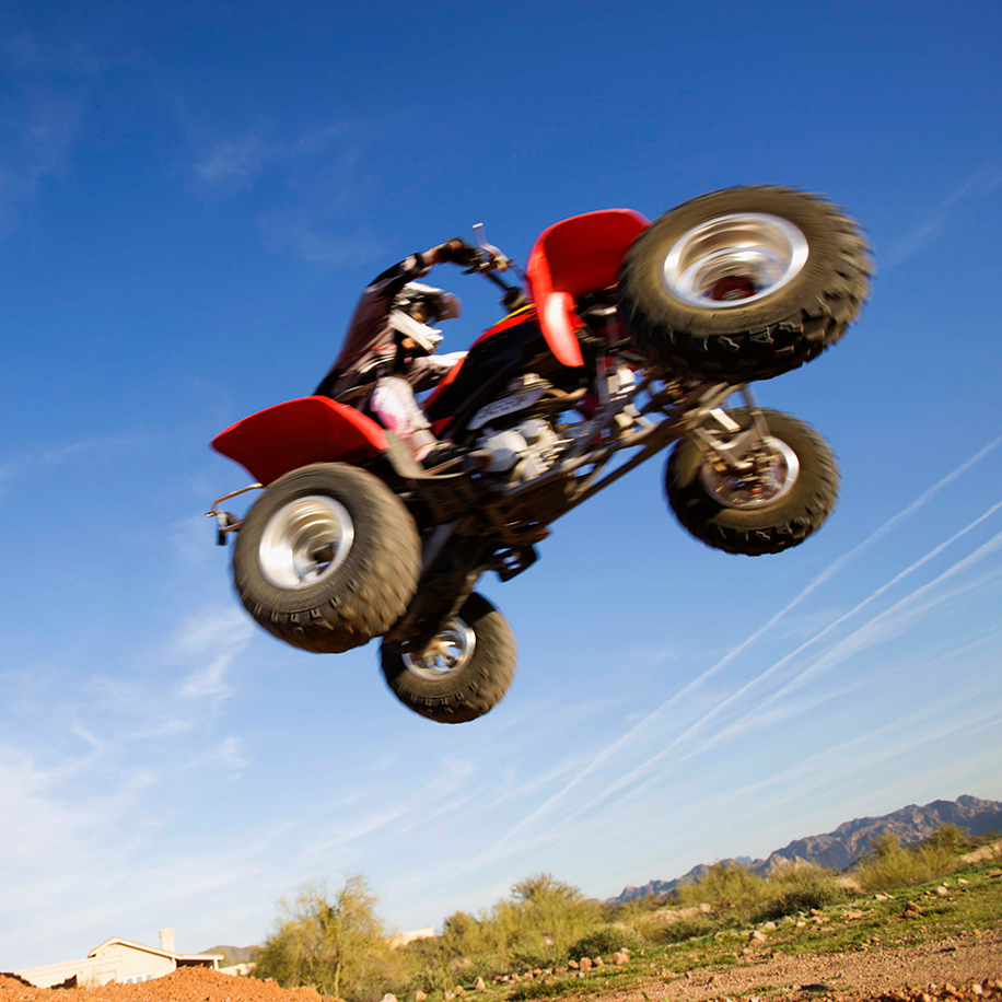 ATV flying through the air