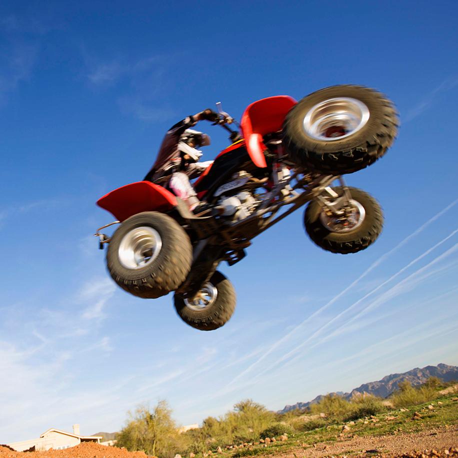 ATV flying through the air
