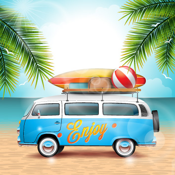 Beach Van with Surfboard and Beach Ball