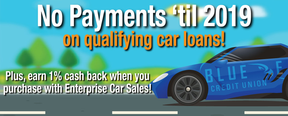 No Payments until 2019 graphic with Blue Eagle car