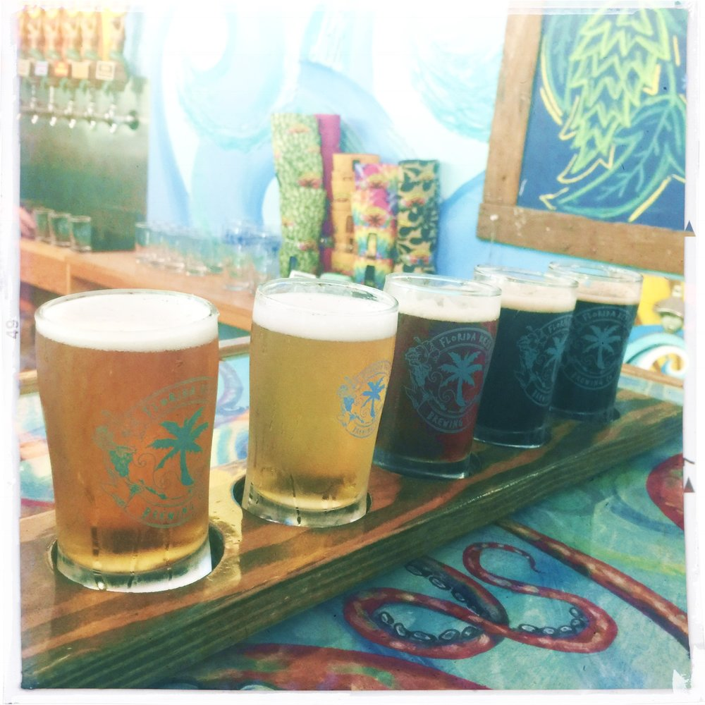 Sampling little beers at  Florida Keys Brewing  and telling tales.