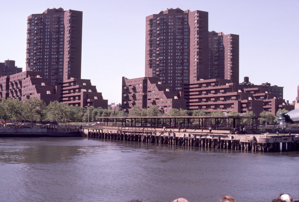 1199 Plaza from the East River. Credit: Massachusetts Institute of Technology, photograph by G. E. Kidder Smith.