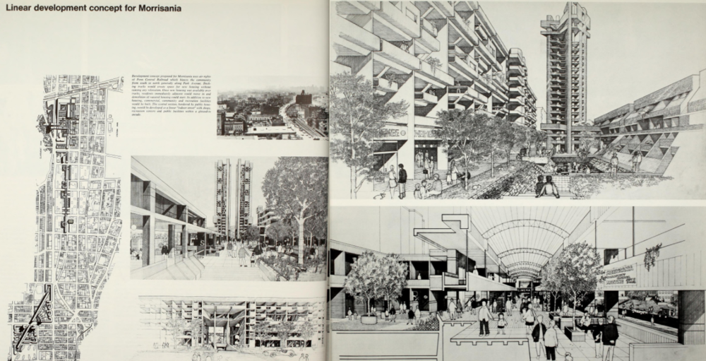 Early proposal for linear development in Morrisania using Penn Central Air Rights (Plan for New York City, 1969)