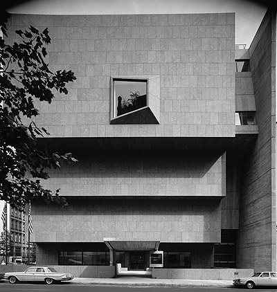 The Met Breuer's Madison Avenue facade, designed to resemble an upside down ziggurat. Credit: Ezra Stoller.