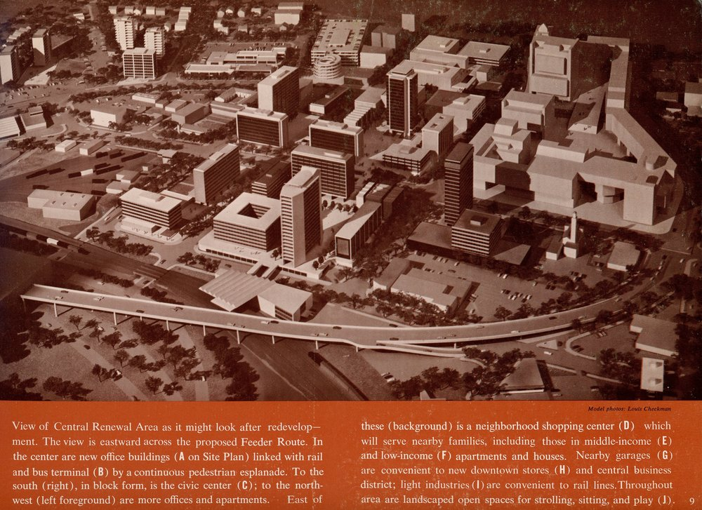 Early model of the White Plains Central Renewal Area. The area shown comprises almost all of downtown White Plains, specifically the areas currently occupied by the Galleria and library. Collection of White Plains Public Library, 1963.