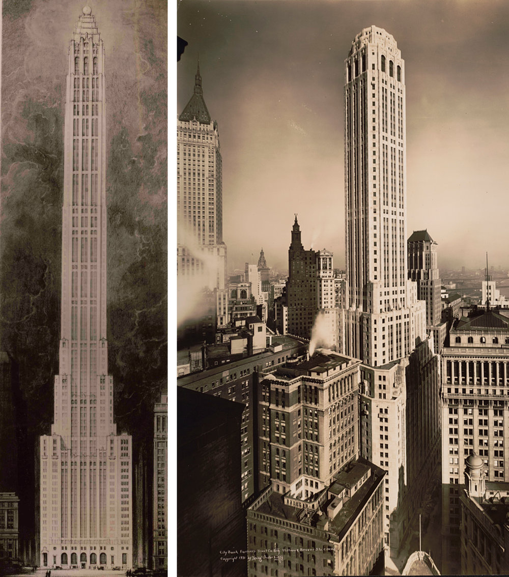 Left: Original rendering from Cross & Cross of the 71 story, 846-foot tower topped with an illuminated globe that hoped to be the tallest in the world.  Right: Twenty Exchange as built, 1931.