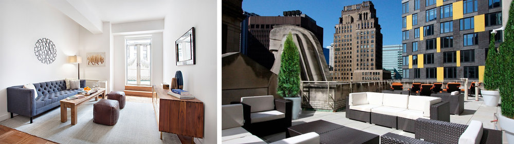 Amenities at 20 Exchange include an outdoor terrace overlooking the Giants of Finance.