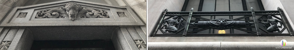 Left: ram's head over service entrance. Right: iron grillwork along lower level windows visible from the sidewalk with scenes depicting law, finance, architecture, engineering, chemistry, metallurgy, farming, medicine, navigation and manufacturing.