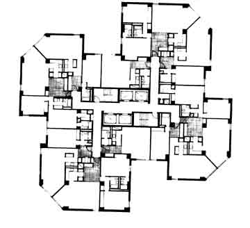Floor plan - middle floors