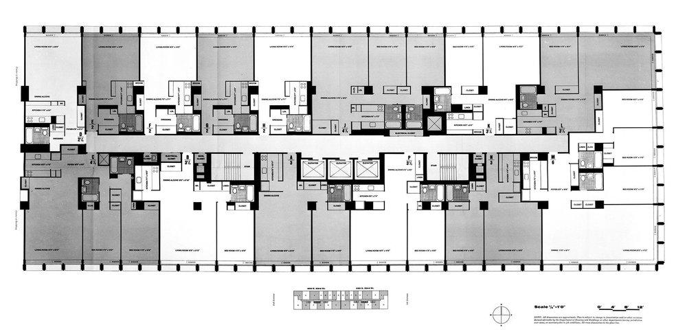 Kips Bay Plaza floorplan (Pei Cobb Freed & Partners)