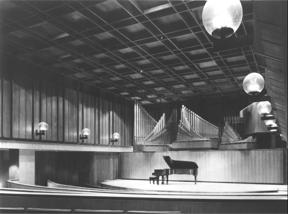 Paul Recital Hall in Juilliard. Installed in this hall, which seats 277, is the Holtkamp organ.