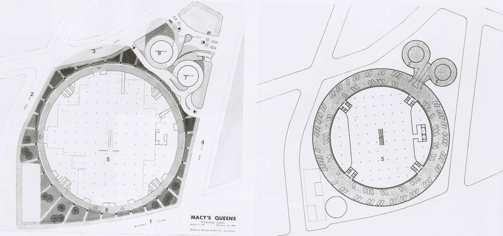 Macy's ground floor site plan (left) and parking (right). Credit: Skidmore, Owings & Merrill.