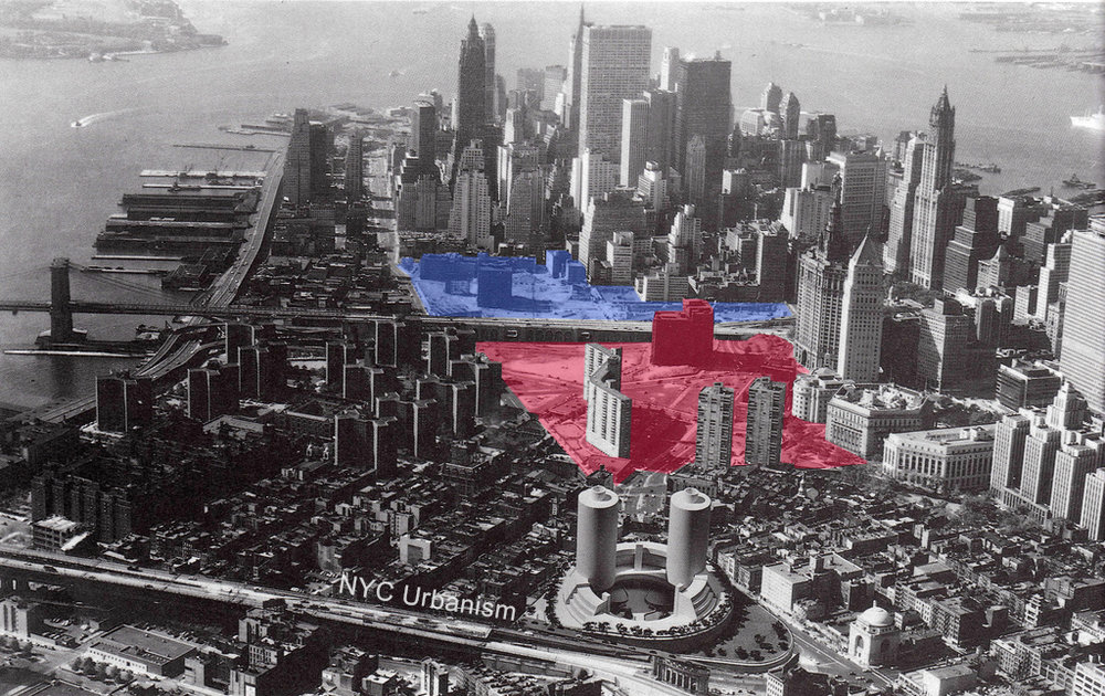 Civic Center Urban Renewal Area seen in red with Chatham Towers and and Chatham Green completed. Brooklyn Bridge South Urban Renewal Area ( Pace University  and Beekman Hospital) is seen in blue just south of the Brooklyn Bridge. Credit: NYC Urbanism.
