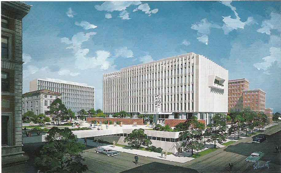 Early rendering of Law School Building
