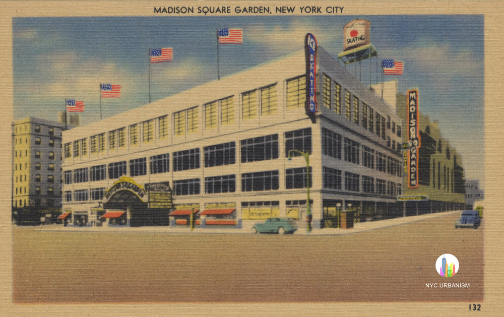 Madison Square Garden III. NYC URBANISM Historic Postcard Collection. Click to enlarge.  Click here to order a print .