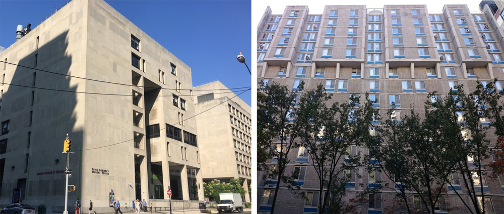 Left: Dubinsky Student Center. Credit: NYC Urbanism, 2017. Right: Co Ed Hall. Credit: StreetEasy.