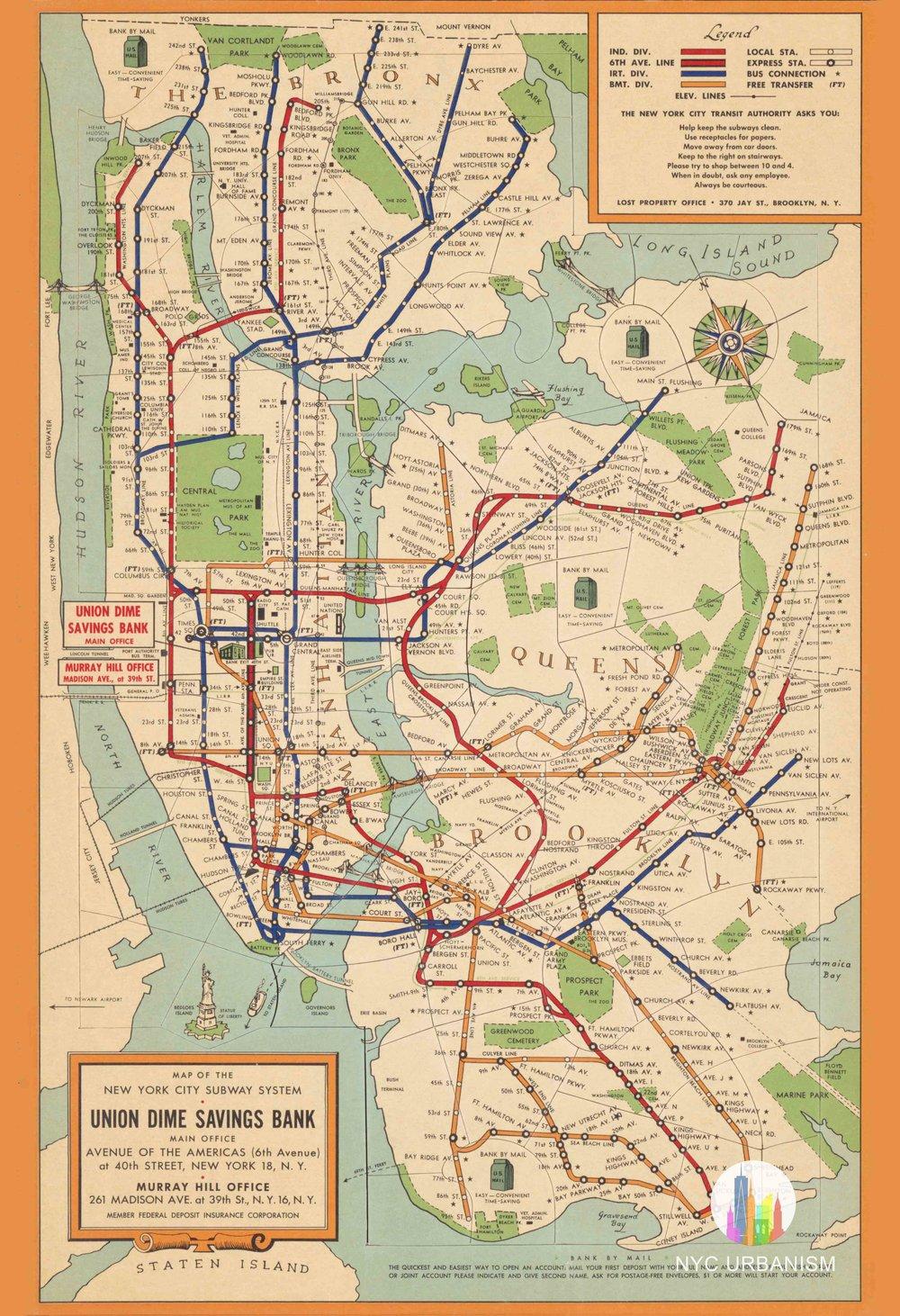 Nr Subway Map.1954 Subway Map Nyc Urbanism