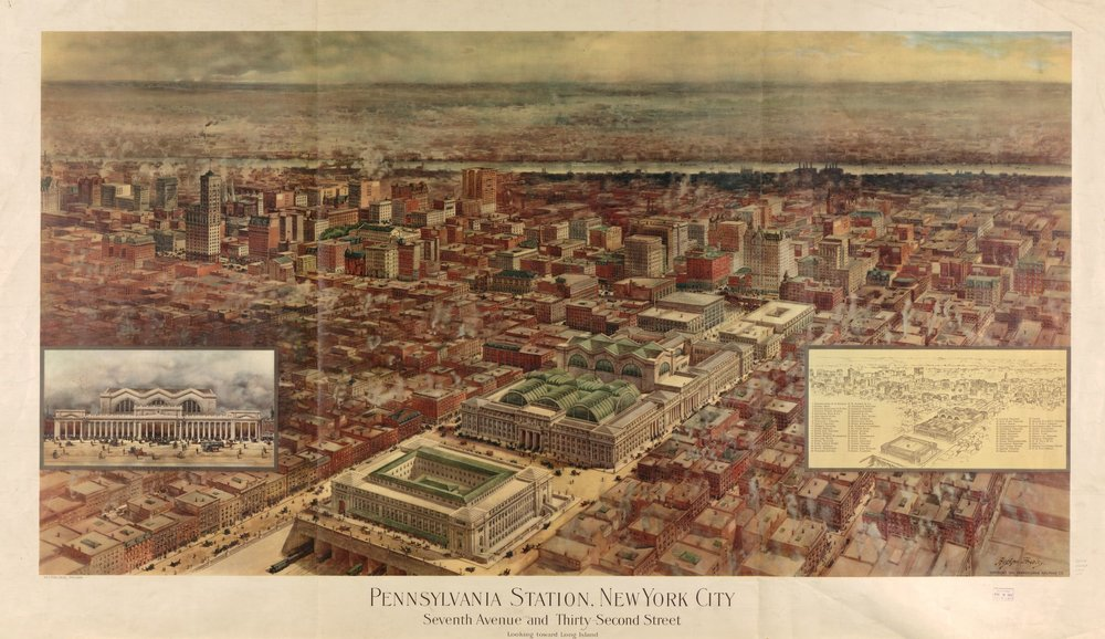 1919 Bird's-eye and map of Penn Station.  Purchase a fine-art print from our web store .