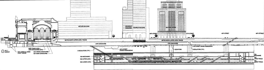 Cross-section view looking west, showing the LIRR concourse and tracks' proximity to Metro North, streets and buildings above. Credit: MTA Capital Construction.