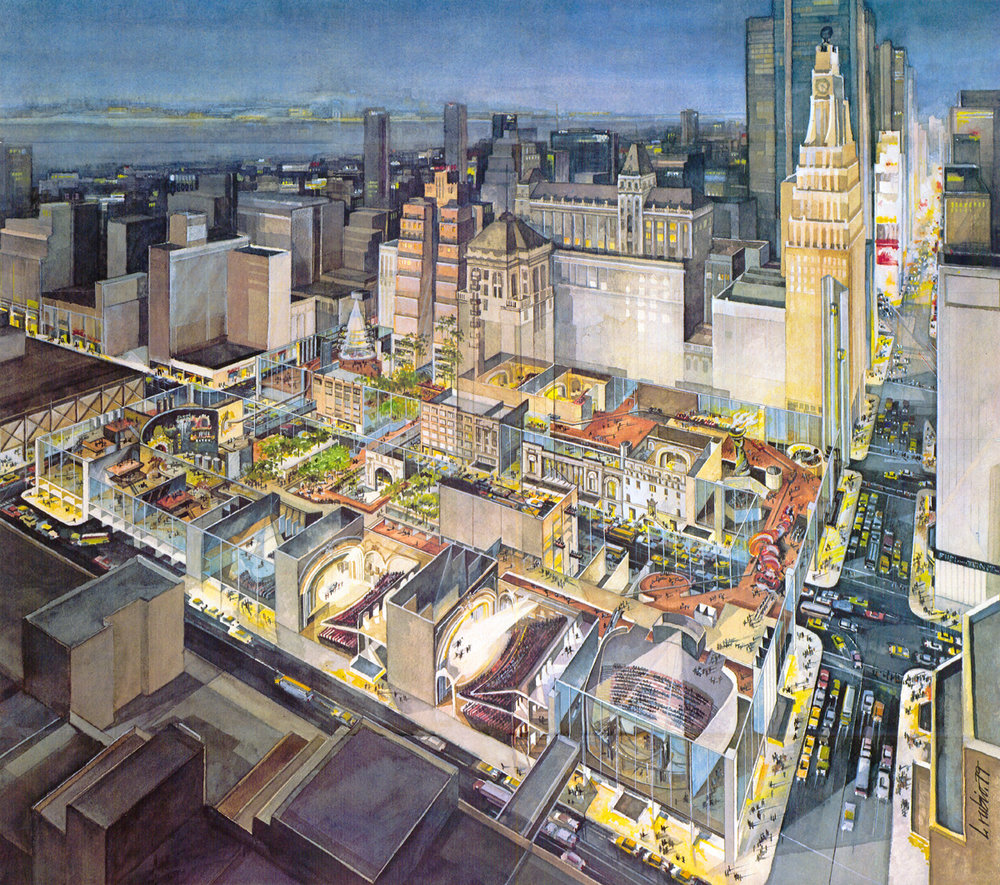"""""""A City at 42nd Street"""" proposal, which restored the facade of the Times Square while demolishing the rest for an exhibit atrium."""