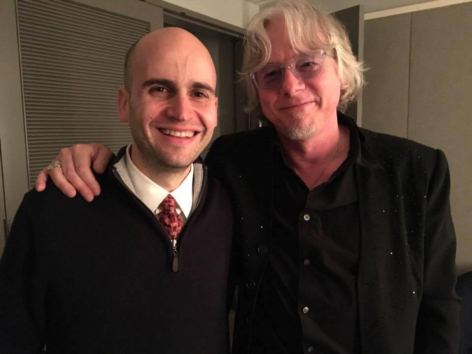 Mike Mills (from R.E.M.) & David Mallamud after the premiere of Mills' Concerto for Rock Band and Violin (with arrangements and additional music by Mallamud)