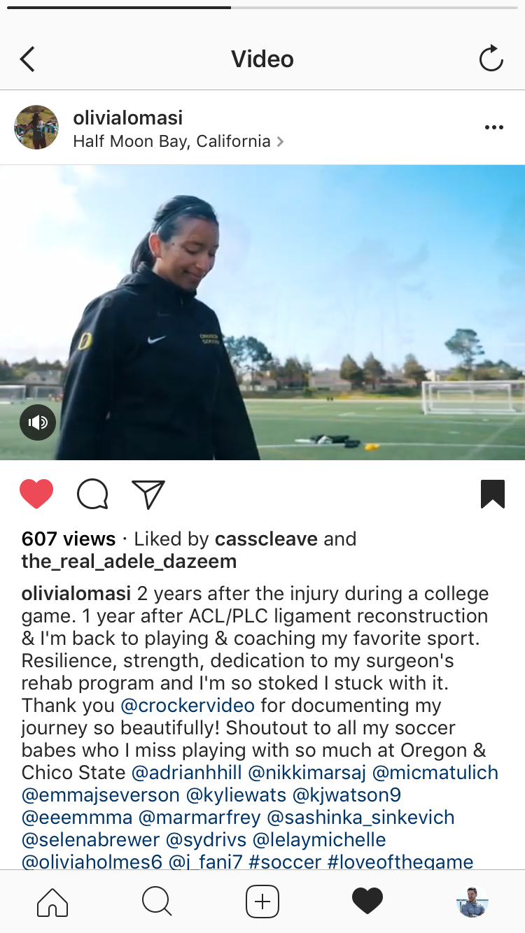 Here's a screenshot of the clip I gave to Olivia to share to her personal instagram page. It got 600+ organic views. - We could do the same with future comeback stories where we have your clients share their spotlight feature to their platforms.