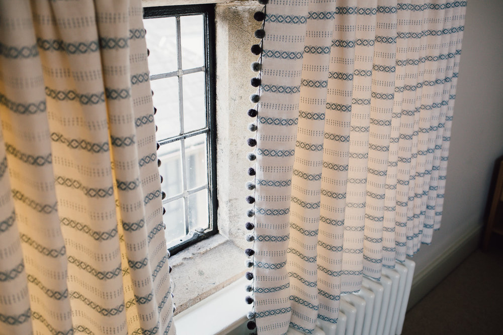Curtains printed in K- blossom stripe, woad on white softened linen 2.jpg