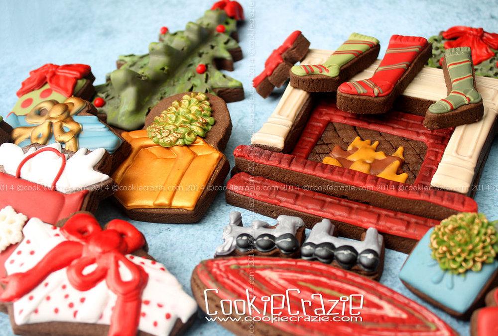 Fireplace Christmas Cookie Scene — CookieCrazie