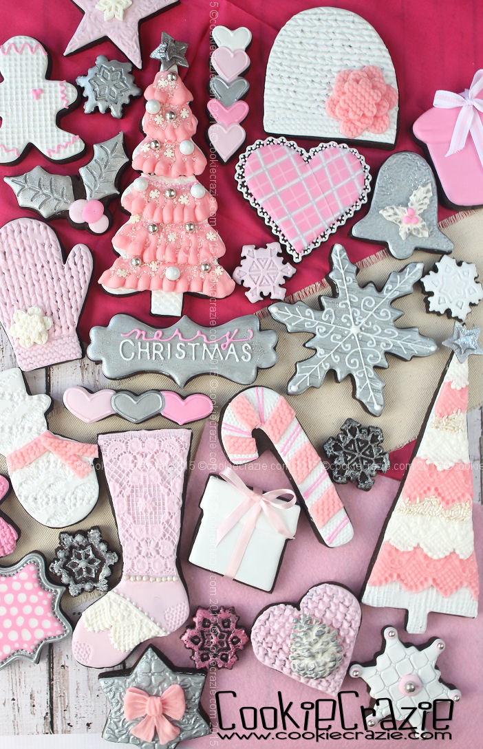 Pink Silver Shabby Chic Christmas Cookie Collection Cookiecrazie