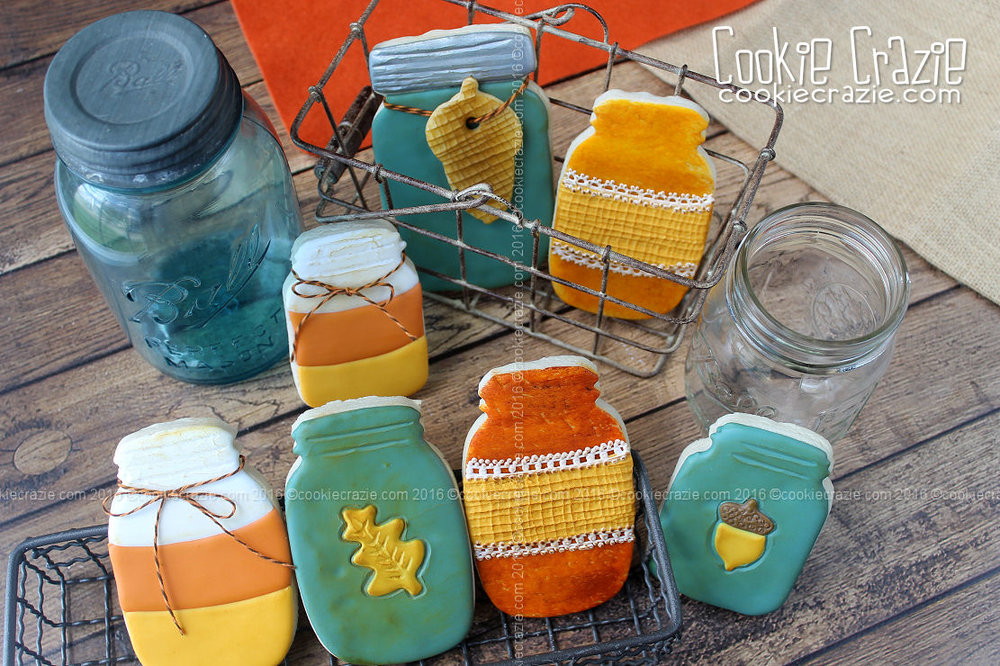 Harvest Mason Jar Decorated Cookies (Tutorial)