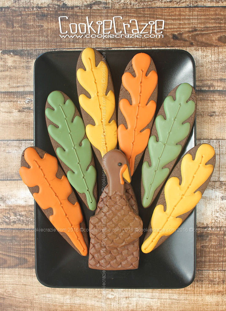Autumn Leaf Thanksgiving Turkey Decorated Cookie Collection