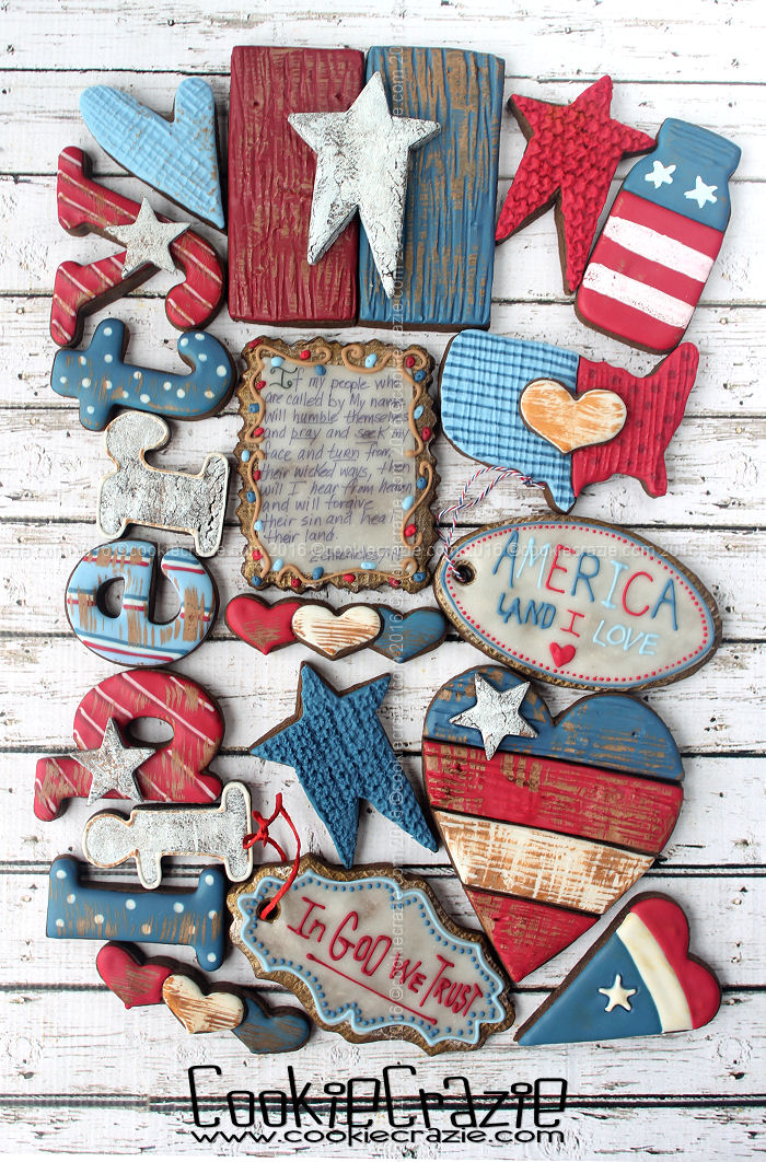 2016 Primitive Patriotic Decorated Cookie Collection
