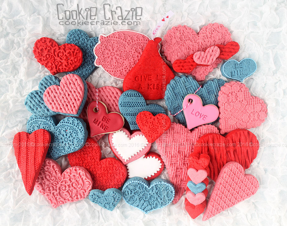 Textured Colored Dough Valentines Decorated Cookie Collection