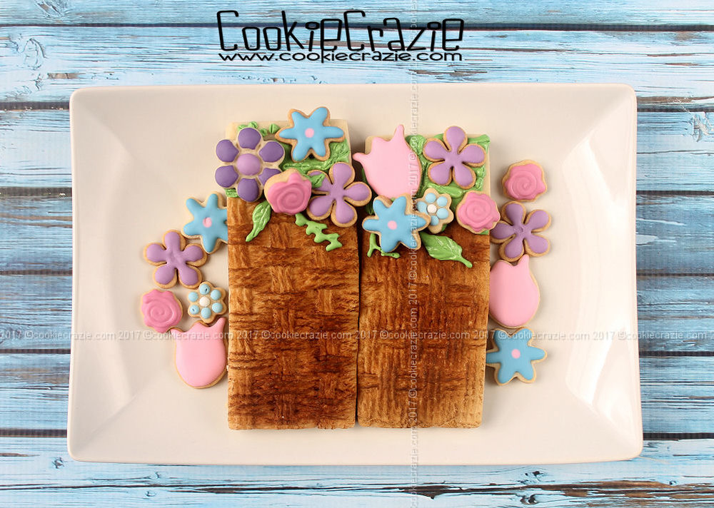 Basket of Flowers Decorated Cookie