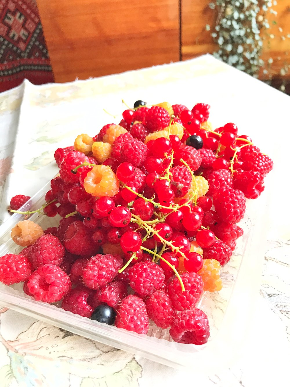 The end of June is raspberry, strawberry, and currant season.....we received many of these beauties from our beloved friends.