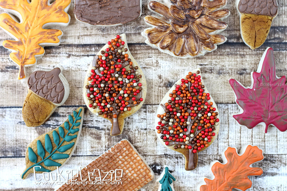 Autumn Leaf Tree Decorated Cookie (Tutorial)