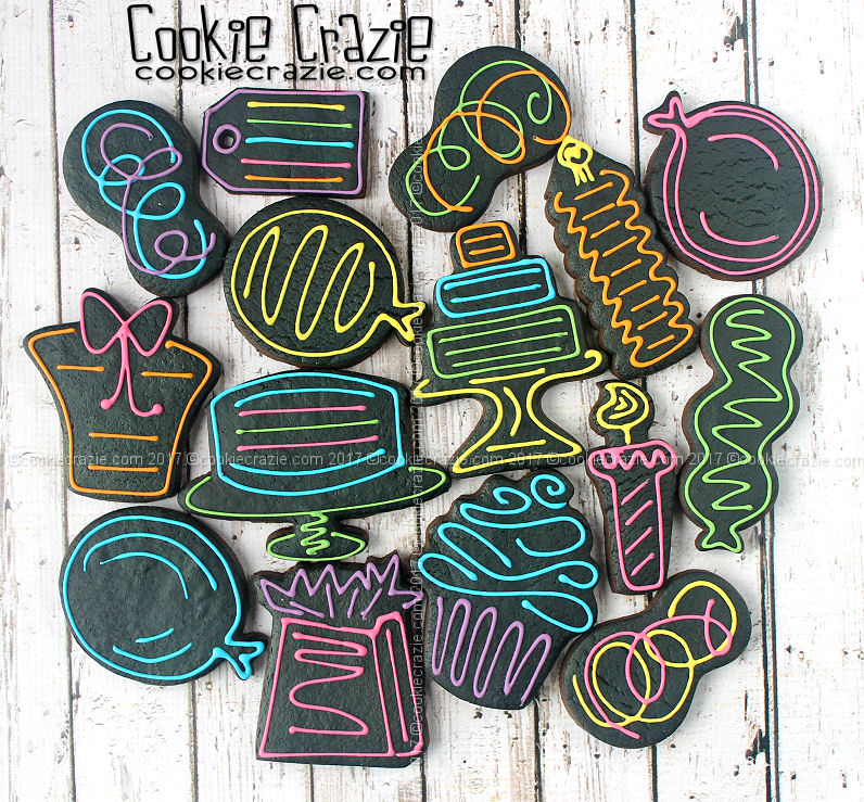 Neon Sign Styled Birthday Cookies