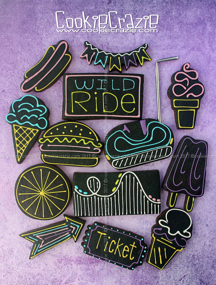 Neon Sign Styled Amusement Park Decorated Cookie Collection