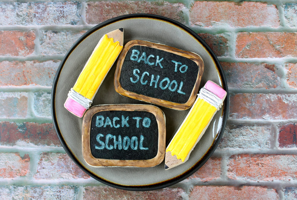 Back To School Chalkboard Decorated Cookie YouTube Video  and  Pencil Decorated Cookie YouTube Video