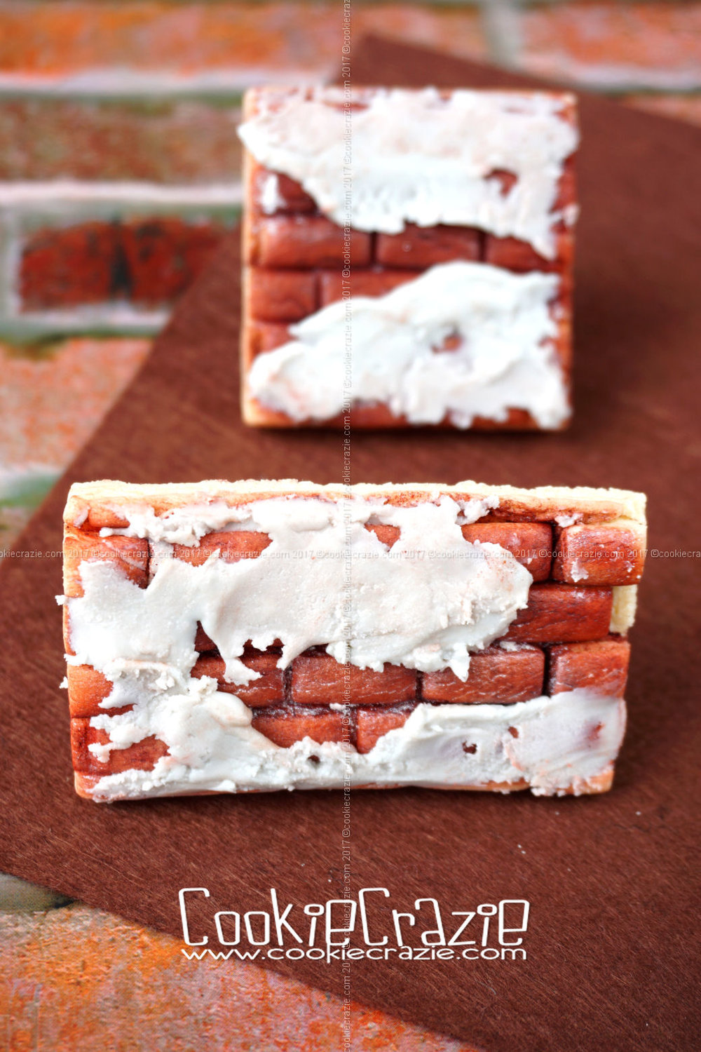 Exposed Brick Wall Decorated Cookies (Tutorial)