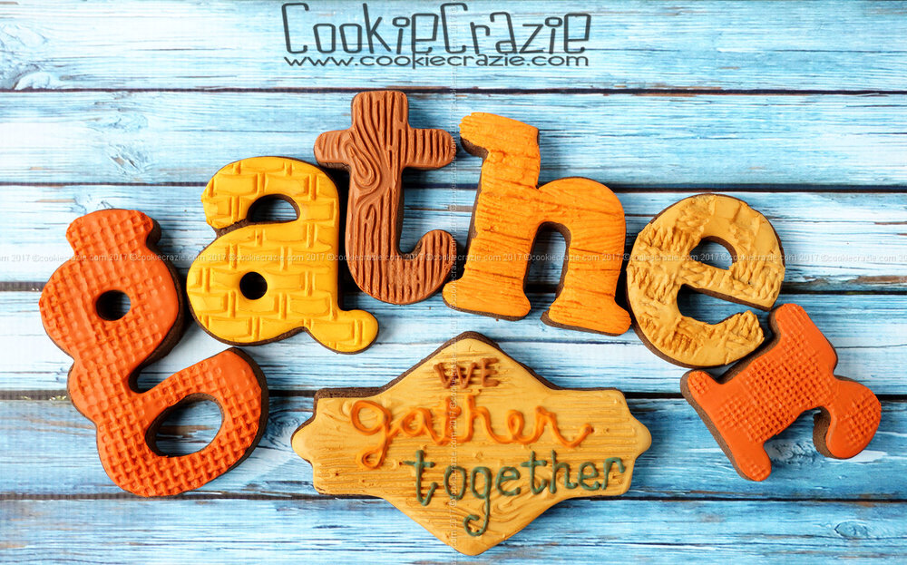 We Gather Together Thanksgiving Plaque Decorated Sugar Cookie YouTube video  HERE