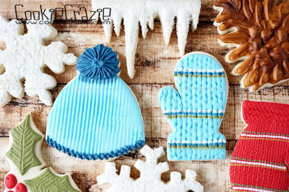 Winter Hat & Mitten Decorated Sugar Cookies YouTube video  HERE
