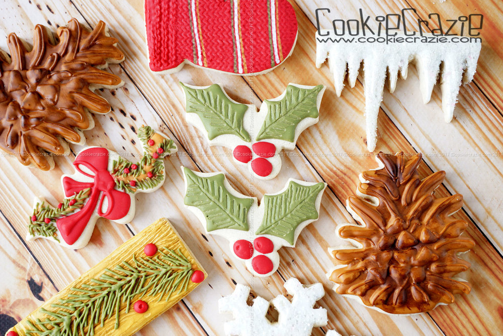 Holly & Berries Decorated Sugar Cookie YouTube Video  HERE