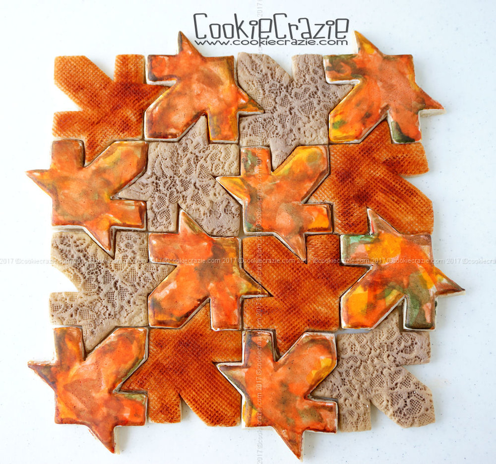 Autumn Leaf Textured Patchwork Quilt Decorated Cookie Collection