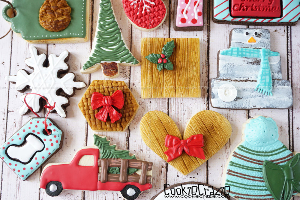 Basket & Wood Plank Christmas Decorated Sugar Cookies YouTube video HERE